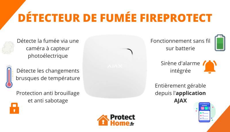 Détecteur de fumée et de chaleur Fireprotect AJAX