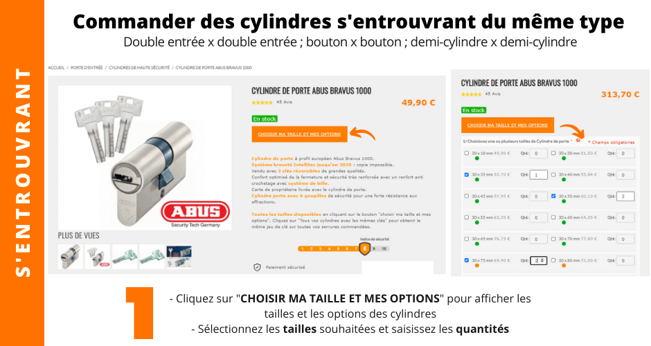Commandes cylindre s'entrouvrant