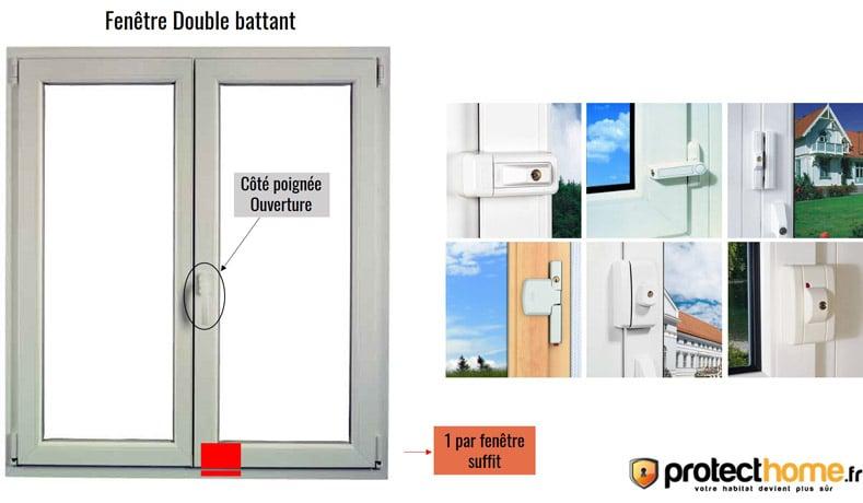 verrou de fenêtre abus double battant